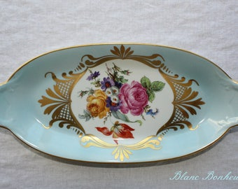 Limoges, France:  Blue tray with flowers