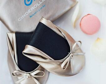 Gold Cinderollies Foldable Flats,Ballet Flats,foldable ballet flats,shoes,Wedding Flats,wedding shoes,flat wedding shoes,Bridal Flats