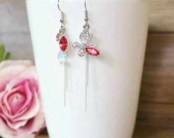 Swarovski crystal butterfly mismatched earring,Dangle & Drop Earrings,Asymmetrical earrings,wedding jewelry,bridal earrings,clip on earrings
