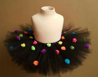 Black Pom Pom Tutu rainbow pom pom tutu photo prop birthday tutu smash cake party tutu dress up black tutu tutu skirt dress up tutu