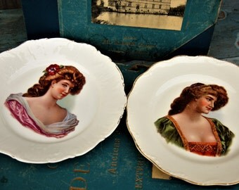Renaissance Women Painted French Limoges China Plates/Limoges Renaissance Women/Collectable Plate/Versailles Woman Plate/Wall Plate