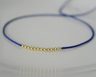 Royal blue silk wish bracelet gold Pearl Friendship Bracelet