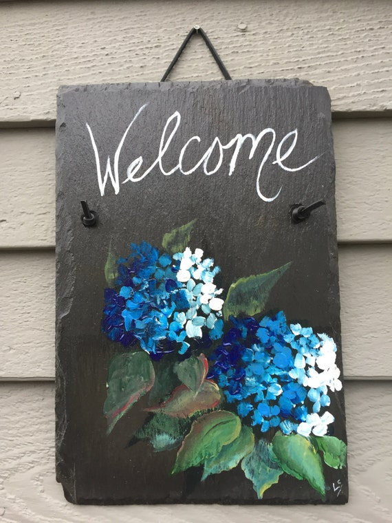 Blue Hydrangea Slate Welcome sign, 12 x 8  painted Slate, Wall hanging, Welcome sign, Front Door decoration, door sign, Beach house decor