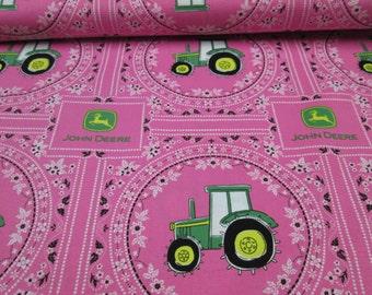 fabric cotton pink john deere girl