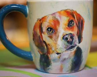 Custom Pet Portrait mug, ceramic, dishwasher safe, affordable