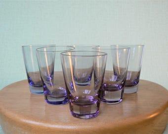 SHOT GLASSES Vintage/ Set of 6 Shot Glasses/ Lilac, Purple Vodka Glasses/ Vintage Drinks Serving/ Latvia 1980s