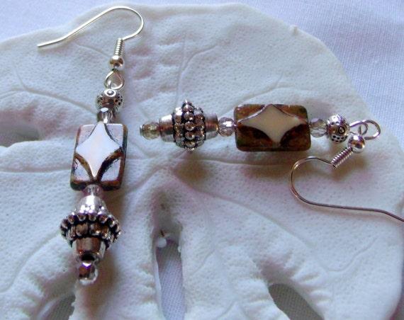 Brown flat tile earrings - silver swirl - beige rectangle earrings -  fall -  mosaic design - ethnic jewelry - boho gift  - Lizporiginals