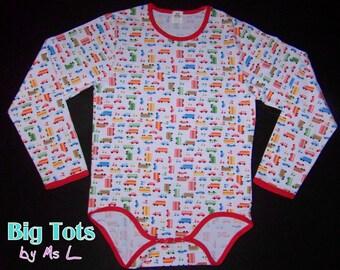 Adult Baby Transportation LONG sleeve  snap crotch Bodysuit ABDL