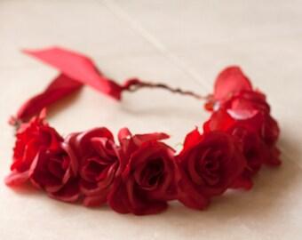 Red Rose Flower Crown (Adjustable)