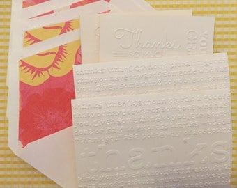 Embossed Thank You Cards--Set of 4