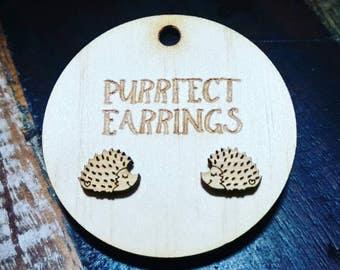 Wooden hedgehog earring studs
