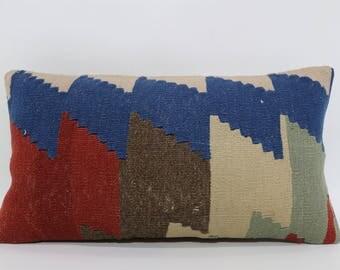 Geometric Kilim Pillow Floor Pillow Handwoven Pillow 10x20 Turkish Kilim Pillow Bohemian Kilim Pillow Cushion Cover SP3050-934