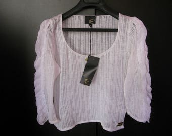 JUST CAVALLI New White Linen Cropped Top Blouse