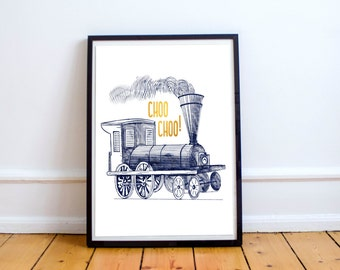 Train Print-Blue/Gold-Contemporary Print-Wall Art-Desk Accessories-Home Decor-Nursery Decor-Office Art-Typography-Printable-Instant Download