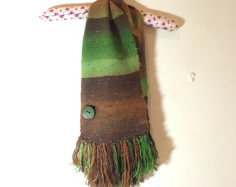 Hand Woven Scarf button Scarflette One of a Kind
