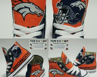 Custom Denver Broncos shoes, Converse chucks, unisex sneakers, nfl football wear, birthday party outfit