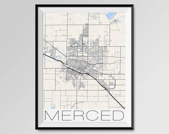 MERCED California Map, Merced City Map Print, Merced Map Poster, Merced Wall Art, Merced gift, Custom city, University of California Merced