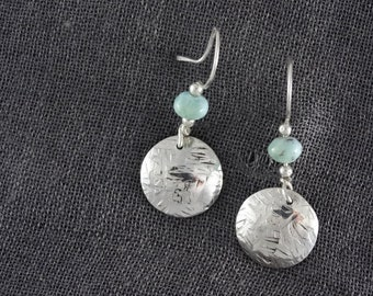 Stamped silver and Larimar earrings