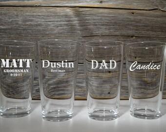 Set of 4 Pint Glasses, Personalized Pub Glasses, Beer, Wedding Glasses, Groomsmen gifts, Gift for Best Man Groomsman, Dad, Grandpa, Husband