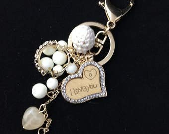 Bead and Bauble Purse Charm/ Key Chain, Gold