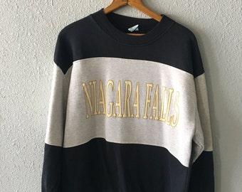 1980's Niagara Falls Vintage Niagara Falls Color Block Sweatshirt