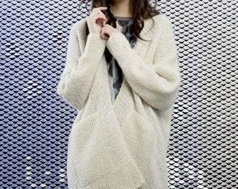 Cardigan/Sweater of Alpaca/silk/Super kid mohair