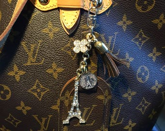 Upcycled Authentic LV Cancas- Monogram Luggage Tag Bag Charm GORGEOUS!