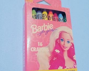 New vintage unused Barbie crayon pack crayons art color coloring book toy doll retro eighties 80s 90s '90s 90's 1990s nineties girl kid kids