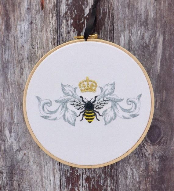 Queen bee embroidery hoop art gold crown home decor gift girl