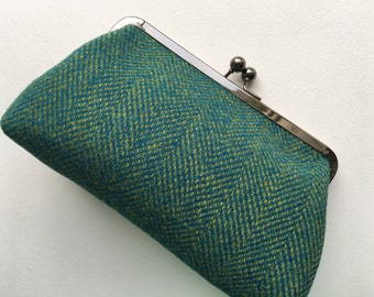 Harris tweed clutch bag/purse. Green/blue tweed bag/purse