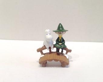 Trolls and the Snork Maiden, Snufkin friends this lovely micro landscape, mininature, bonsai terrarium decor, fairy garden, Moomintroll