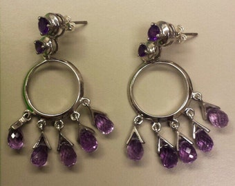 Sterling Silver .925 Earrings Amethyst