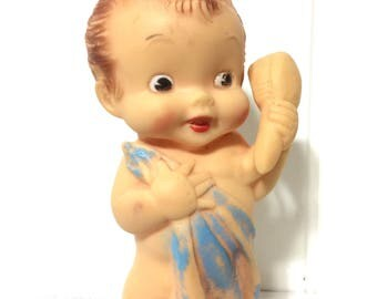 Vintage 1950's Rubber Squeak Toy Girl with Brush and Towel, Alan Jay?