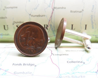 Australia coin cufflinks - 3 different designs -  made of original coins from Australia