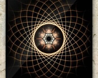 TOROIDAL GAZE Art – Fractal Greeting Card: sacred geometry, mandala, torus, atom, energy, astral