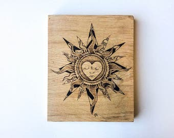 Pyrography oak tribal sun mandala artwork, original woodburned freehand artwork signed by the artist, rustic oak tattoo wood oak wallart