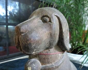 Primitive Wood Dog - Antique Carved Wooden Dog Statue - Big Old Cute Dog