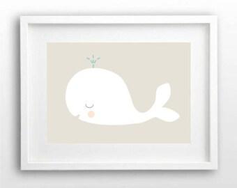 Nursery Wall Art Print, Kids Art Print, Animal Nursery Print, Modern Nursery Decor, Whale poster, Kids room