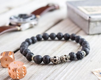8mm - Black lava stone beaded double silver skull stretchy bracelet, made to order yoga bracelet, mens bracelet, womens bracelet