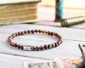 4mm - Picasso jasper beaded stretchy bracelet with silver cube beads, made to order mens beaded bracelet,mens bracelet, womens bracelet