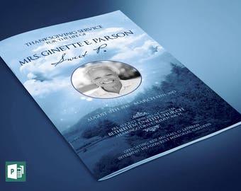 Blue Sky Funeral Program Publisher Template