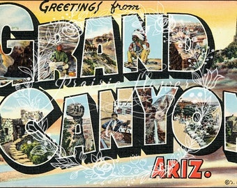 Greetings from THE GRAND CANYON Vintage Postcard Image ~ Instant Download