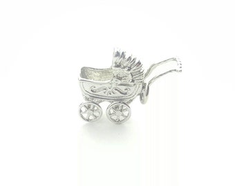 Detailed Vintage Silver Alloy Dimensional Baby Carriage Old Fashion Stroller Charm