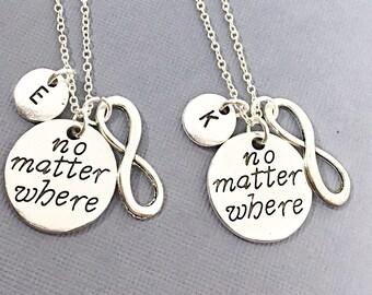 SALE,Necklaces for 2 Friends, Best friend set of 2  necklaces No Matter Charms Personalized friendship necklace, friendship owl necklace, 2