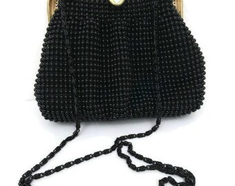Vintage Black Beaded Small Shoulder Bag Evening Purse Cross-body Small Purse