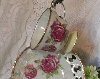 Vintage Lusterware Teacup & Pierced Porcelain Saucer, Vintage Iridescent Tea Party, Lusterware Teacup Matching Saucer, Shabby Chic tea cup