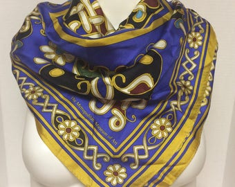 "Gorgeous 27"" Square Silk Scarf for Metropolitan Museum of Art, Tile/Mosaic/Floral Motif, Made in Japan"
