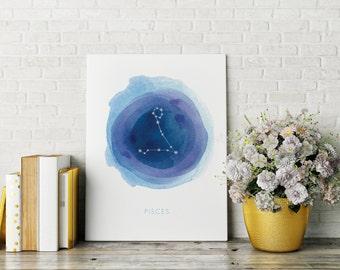 Pisces Print, Printable, Fish Constellation, Digital File, Astrology Art, Zodiac Art, Wall Decor, Constellation, Stars, Watercolor, Nursery