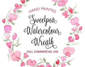 Watercolor Wreath Clipart, Flower Wreath Clipart, Watercolour Flower Clipart, Pink Watercolor flowers, Floral Graphics, Flower Graphics, Pea
