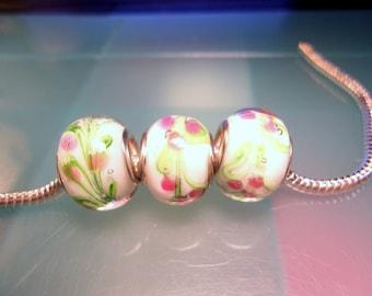 White Floral Lampwork Glass European Charms-White Floral Lampwork Euro Charms-European Style Beads-Snake Chain Bracelet-Pandora 5 piece